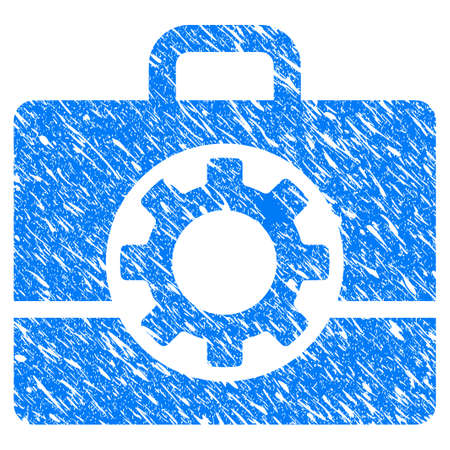 scratched: Grunge Mechanics Case icon with grunge design and dust texture. Unclean vector blue pictogram for rubber seal stamp imitations and watermarks. Draft emblem symbol. Illustration