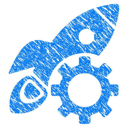 scratched: Grunge Rocket Science Options Gear icon with grunge design and unclean texture. Unclean vector blue pictogram for rubber seal stamp imitations and watermarks. Draft sticker symbol.