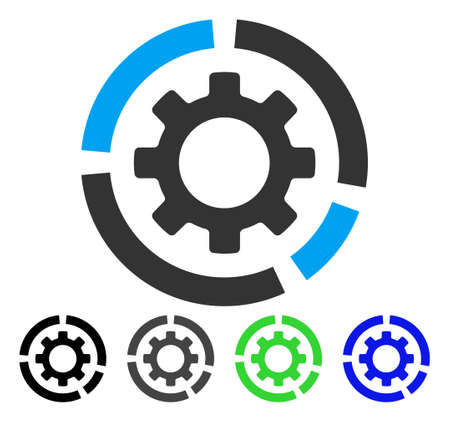 Circle Diagram Configuration Gear flat vector icon. Colored circle diagram configuration gear, gray, black, blue, green icon versions. Flat icon style for graphic design.