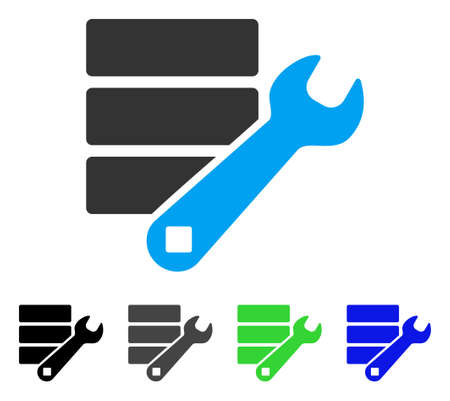 Database Wrench Tools flat vector pictograph. Colored database wrench tools, gray, black, blue, green pictogram variants. Flat icon style for graphic design.