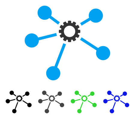 Gear Connections flat vector pictogram. Colored gear connections, gray, black, blue, green icon versions. Flat icon style for application design. Illustration