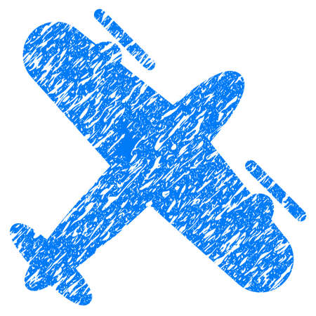 Grunge Screw Aeroplane icon with grunge design and dirty texture. Unclean raster blue pictogram for rubber seal stamp imitations and watermarks. Draft sticker symbol. Stock Photo