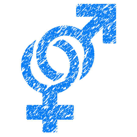 Grunge Sexual Symbols icon with grunge design and scratched texture. Unclean raster blue pictogram for rubber seal stamp imitations and watermarks. Draft emblem symbol.