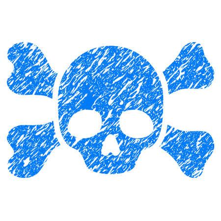 Icône de crâne et des os grunge avec dessin grunge et texture sale. Pictogramme bleu raster malpropre pour imitations et filigranes de cachets de caoutchouc. Symbole de l'emblème Banque d'images - 84362908