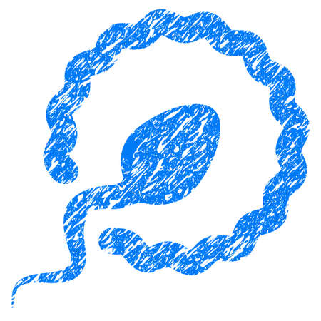 Grunge Sperm Penetration icon with grunge design and unclean texture. Unclean raster blue pictogram for rubber seal stamp imitations and watermarks. Draft emblem symbol.