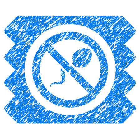 Grunge Spermicide Condom icon with grunge design and dust texture. Unclean raster blue pictogram for rubber seal stamp imitations and watermarks. Draft sticker symbol.