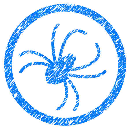 Grunge Spider icon with grunge design and unclean texture. Unclean raster blue pictogram for rubber seal stamp imitations and watermarks. Draft sticker symbol. Stock Photo