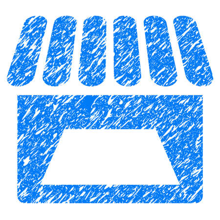 Grunge Store icon with grunge design and scratched texture. Unclean raster blue pictogram for rubber seal stamp imitations and watermarks. Draft sticker symbol.