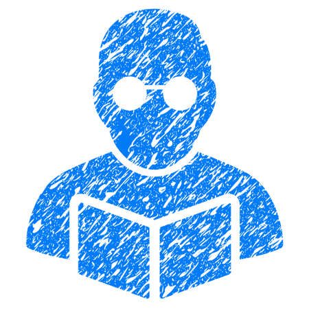 Grunge Student Reading Book icon with grunge design and scratched texture. Unclean raster blue pictogram for rubber seal stamp imitations and watermarks. Draft emblem symbol.