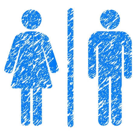 Grunge Toilets icon with grunge design and unclean texture. Unclean raster blue pictogram for rubber seal stamp imitations and watermarks. Draft sign symbol.