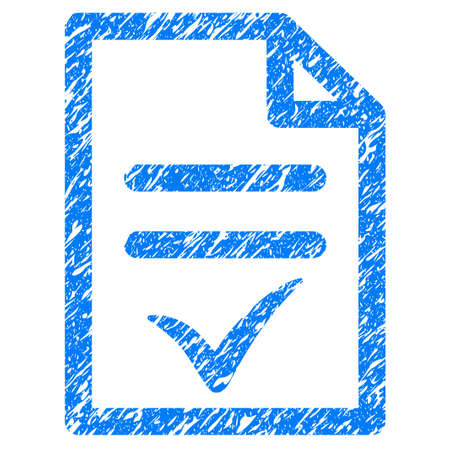 treaty: Grunge Valid Document icon with grunge design and scratched texture. Unclean raster blue pictogram for rubber seal stamp imitations and watermarks. Draft sticker symbol. Stock Photo