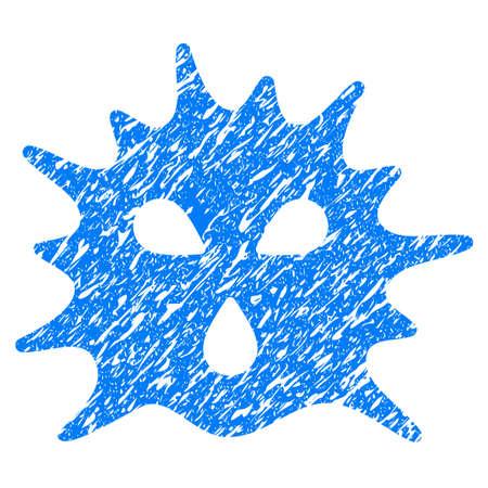 ameba: Icono de Grunge Virus Structure con diseño grunge y textura rayada. Un pictograma azul raster sucio para imitaciones de sellos de caucho y marcas de agua. Símbolo de emblema de proyecto.