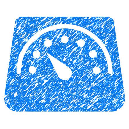 heavy: Grunge Weight Meter icon with grunge design and scratched texture. Unclean raster blue pictogram for rubber seal stamp imitations and watermarks. Draft sign symbol.
