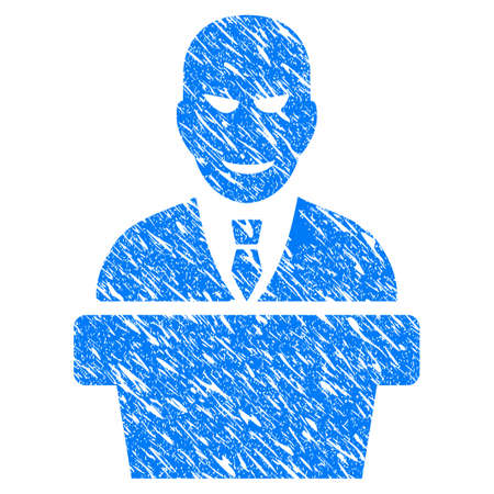bureaucrat: Grunge Demagogue icon with grunge design and dust texture. Unclean raster blue pictogram for rubber seal stamp imitations and watermarks. Draft sign symbol.