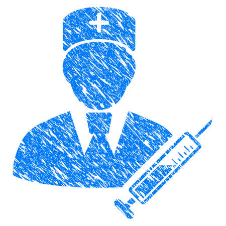 Grunge Doctor icon with grunge design and unclean texture. Unclean raster blue pictogram for rubber seal stamp imitations and watermarks. Draft sticker symbol. Stock Photo