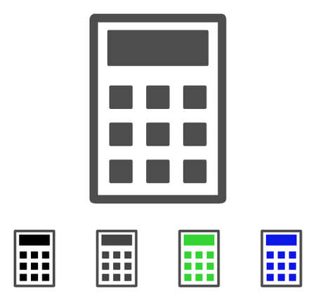 Calculator flat vector icon. Colored calculator, gray, black, blue, green pictogram versions. Flat icon style for application design.