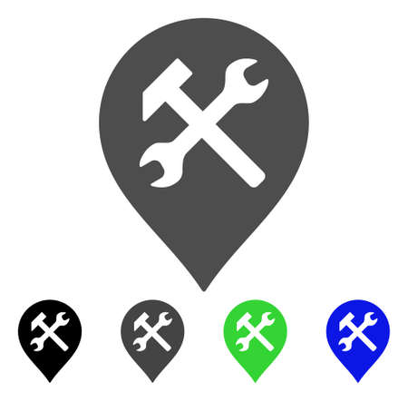 map toolkit: Workshop Map Marker flat vector pictogram. Colored workshop map marker, gray, black, blue, green icon variants. Flat icon style for web design. Illustration