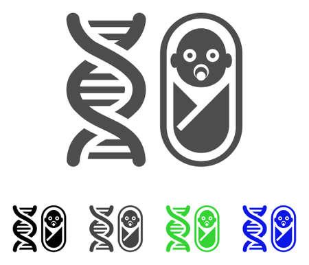 Dziecko genetyki płaskie wektor ilustracja. Kolorowa genetyka dziecka, wersje szare, czarne, niebieskie, zielone piktogram. Płaski ikona stylu projektowania stron internetowych.