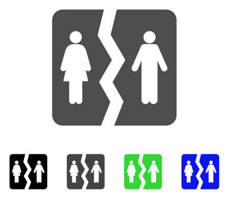 Echtscheiding platte vector pictogram. Gekleurde echtscheidingen, grijs, zwart, blauw, groen, pictogramversies. Platte pictogramstijl voor webdesign.