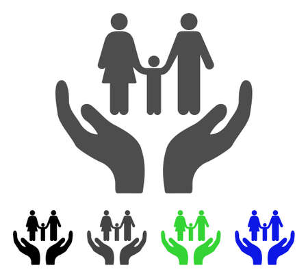 Family Care Hands flat vector pictogram. Colored family care hands, gray, black, blue, green icon versions. Flat icon style for graphic design. Illustration