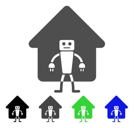 홈 로봇 플랫 벡터 일러스트 레이 션. 컬러 홈 로봇, 회색, 검정, 파랑, 녹색 아이콘 변형. 응용 프로그램 디자인을위한 평면 아이콘 스타일.