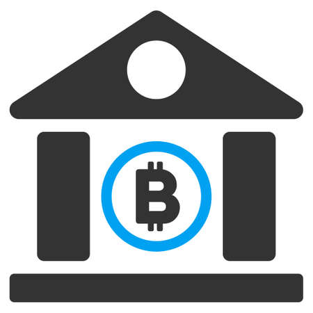 Bitcoin Bank Building flat vector pictogram for application and web design. Illustration