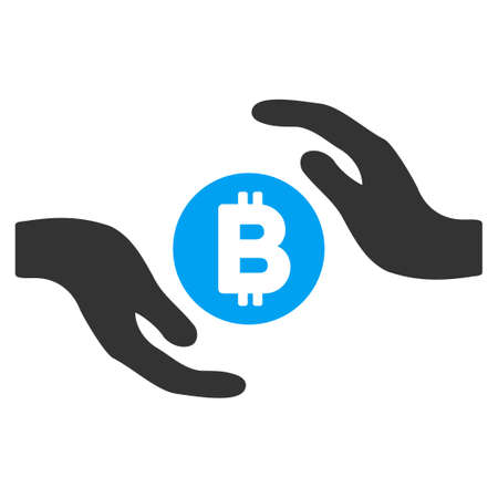 Bitcoin Care Hands flat vector pictograph for application and web design.
