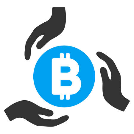 Bitcoin Care Hands flat vector illustration for application and web design. Illustration