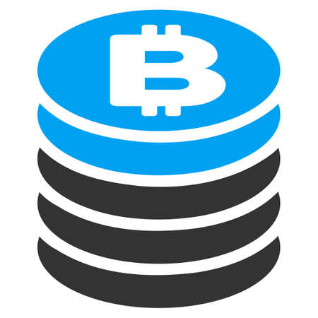 Bitcoin Coin Stack flat vector icon for application and web design. Illustration