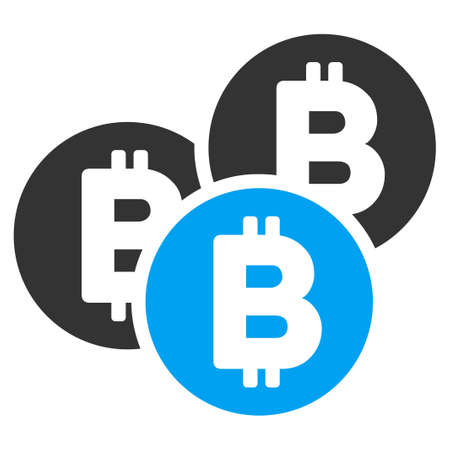Bitcoin Coins flat vector pictogram for application and web design.