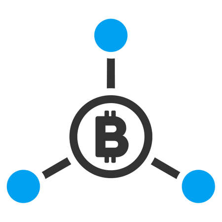 Bitcoin Connections flat vector pictograph for application and web design.