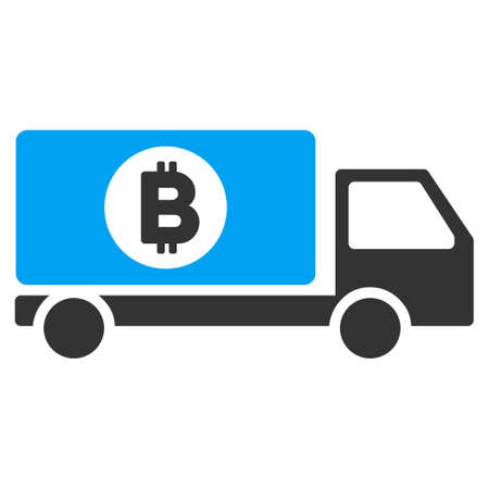Bitcoin Delivery Lorry flat vector pictogram for application and web design.