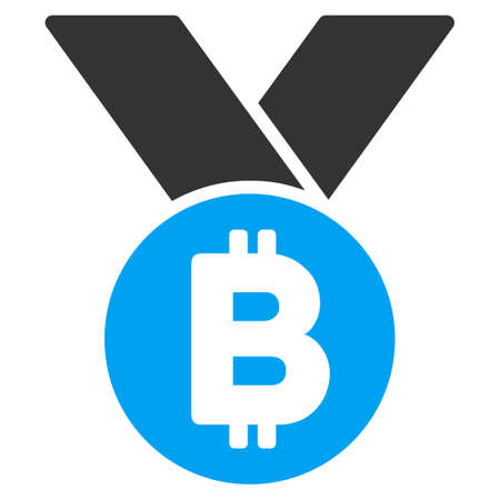 Bitcoin Medal flat vector icon for application and web design.