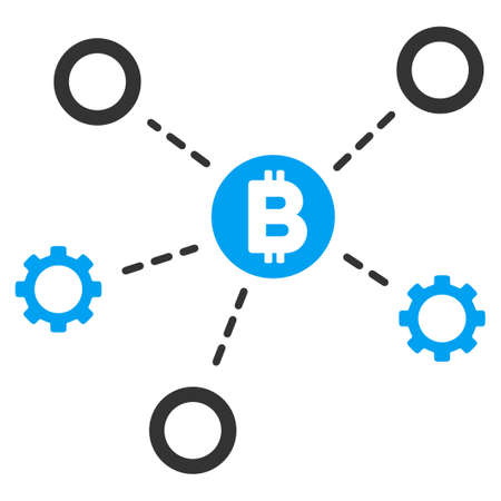 Bitcoin Network Nodes flat vector pictogram for application and web design.