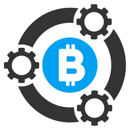 Bitcoin Pool Collaboration flat vector pictograph for application and web design. Illustration