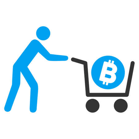Bitcoin Purchase Cart flat vector pictograph for application and web design.