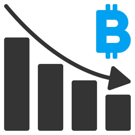 Bitcoin Recession Bar Chart flat vector pictogram for application and web design. Illustration