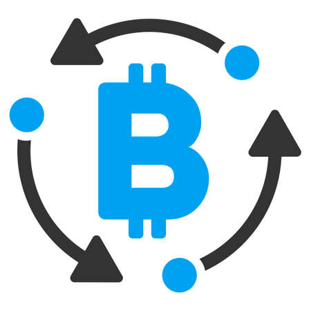Bitcoin Rotation flat vector pictogram for application and web design. Illustration