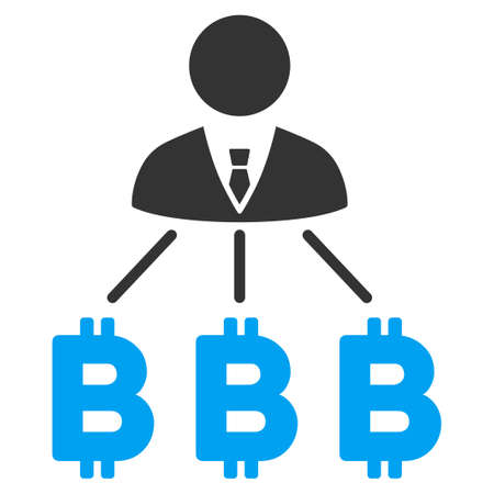 Businessman Bitcoin Expences flat vector icon for application and web design.