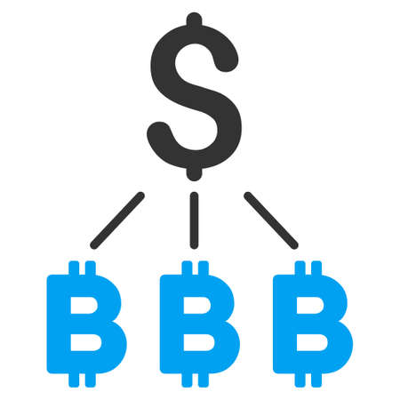 Dollar Bitcoin Links flat vector icon for application and web design.