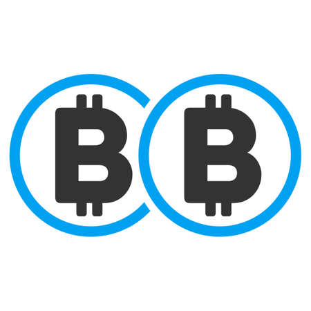 Double Bitcoin flat vector illustration for application and web design.