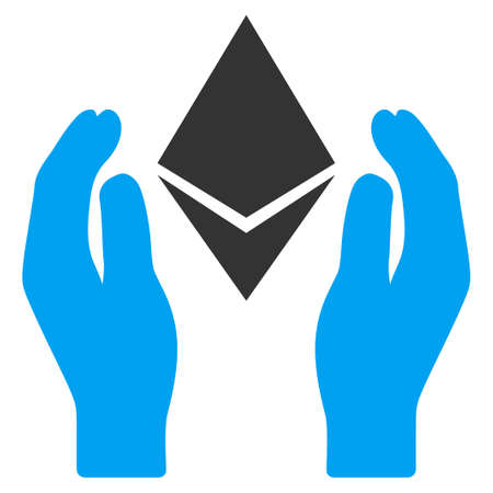 Ethereum Care Hands flat vector pictogram for application and web design.
