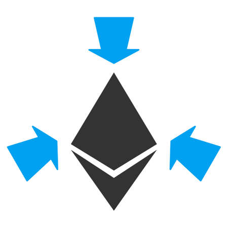 Ethereum Collect Arrows flat vector pictograph for application and web design.