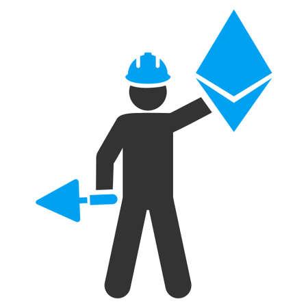 Ethereum Miner flat vector illustration for application and web design.