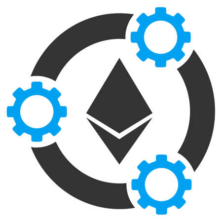 Ethereum Pool Collaboration flat vector pictograph for application and web design. Illustration
