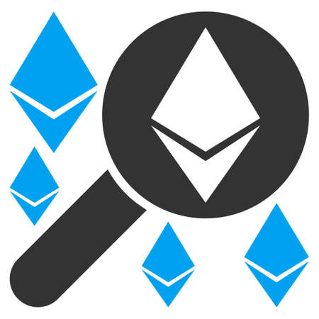 Loupe Search Ethereum flat vector pictogram for application and web design.