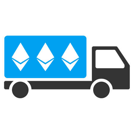 Ethereum Delivery Car flat vector pictograph for application and web design.