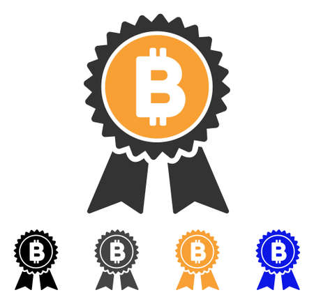 Bitcoin Award Seal icon. Vector illustration style is flat iconic symbol with black, grey, orange, blue color variants. Designed for web and software interfaces.