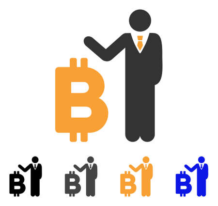 Bitcoin Banker icon. Vector illustration style is flat iconic symbol with black, grey, orange, blue color variants. Designed for web and software interfaces.