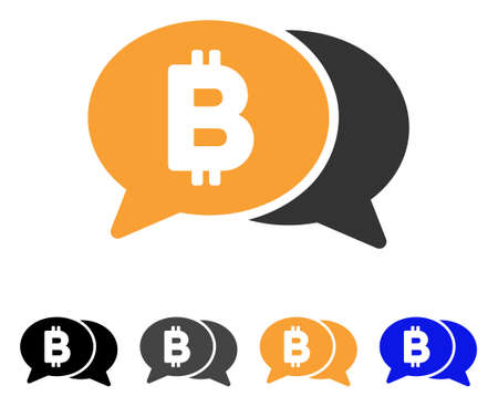 Bitcoin Chat icon. Vector illustration style is flat iconic symbol with black, grey, orange, blue color variants. Designed for web and software interfaces. Illustration